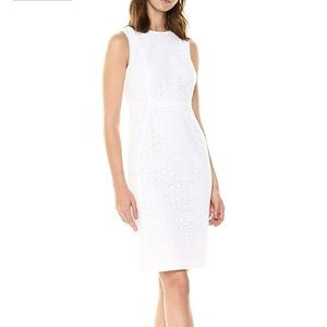 Calvin Klein NWT White Scuba Sheath Dress, Size 4